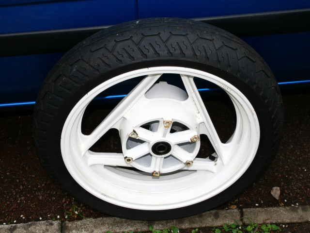 "Used, undamaged white 16"" front wheel - free to collector 0"