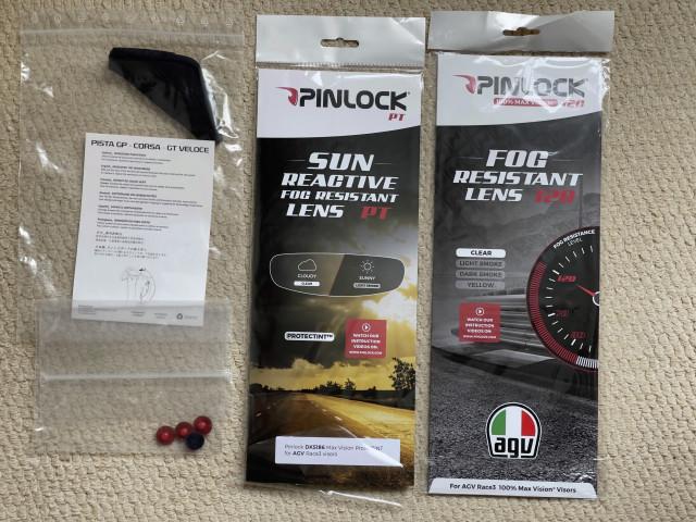 AGV Race 3 Visor Smoke 50% + Pinlocks Clear & Sun Reactive ProtecTINT + Tear Offs + Wind Protector 0