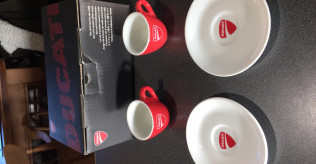 Two Official Ducati Espresso Coffee Cups and Saucers