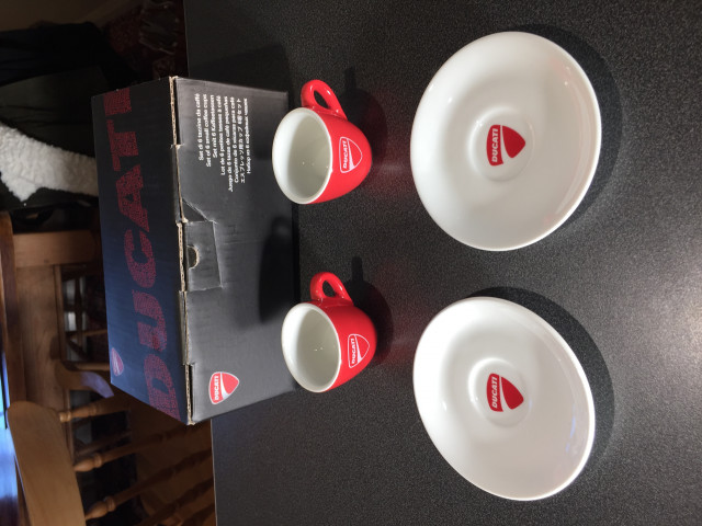 Two Official Ducati Espresso Coffee Cups and Saucers 0