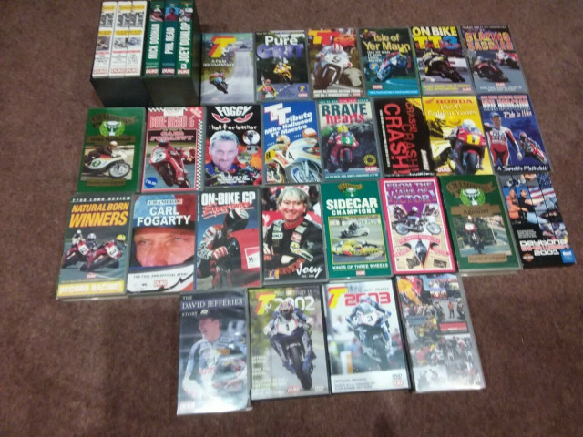 Job lot of TT and related VHS videos and a couple of DVDs - FREE, postage only 0