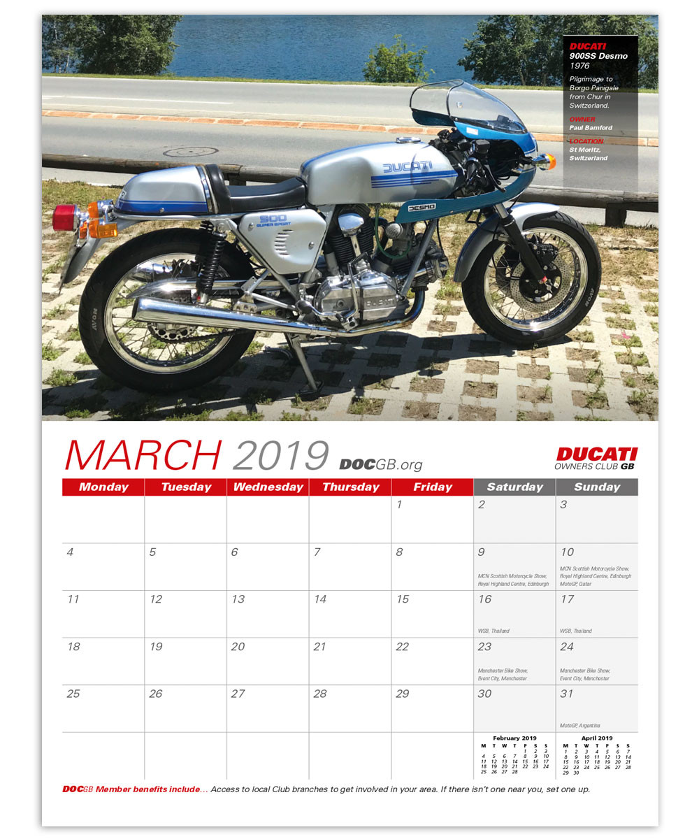 Ducati Owners Club GB Official 2019 Calendar cover