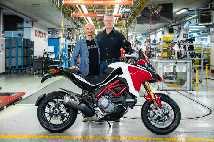 Claudio Domenicali handing over the 100,000th Multistrada to Dave Hayward