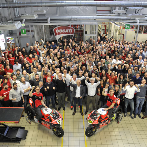 Álvaro Bautista and Chaz Davies celebrate Ducati's 350 World Superbike wins at Borgo Panigale
