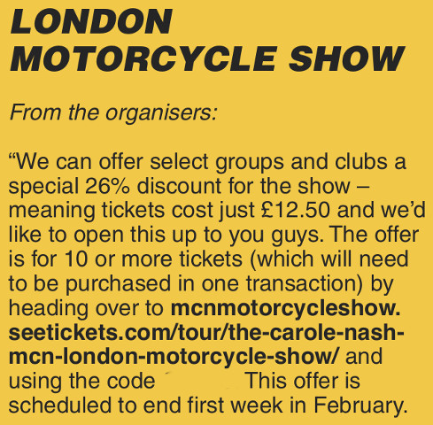 London Motorcycle Show ticket discount for members