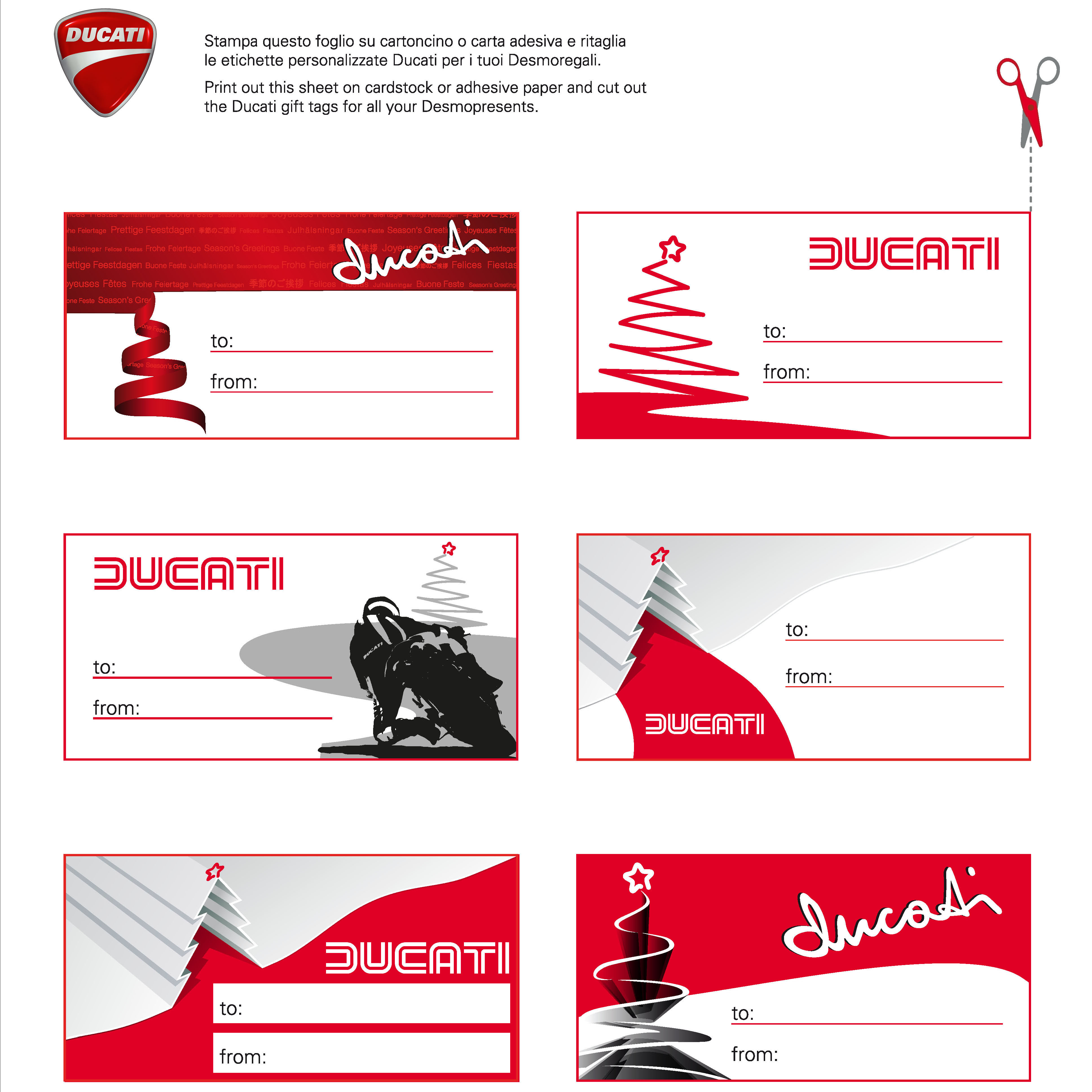Ducati gift tags and decorations to download